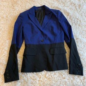 Theory Gabe Colorblock Blazer Jacket Black Blue
